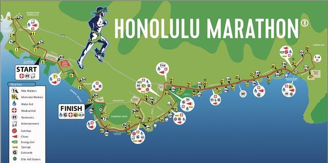 ホノルルマラソンのコース地図